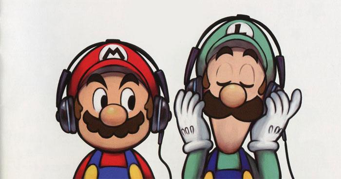 mario and luigi listening to music